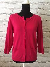 NWT Talbots Petites Medium Hot Pink Pima Cotton Button Down Cardigan Sweater