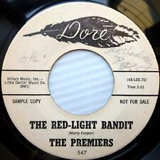 PREMIERS vg++ garage rockabilly promo 45 RED LIGHT BANDIT / TRUE DEEP LOVE e1005