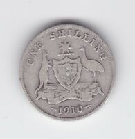 1910 Sterling Silver Shilling Coin Australia King Edward  W-683