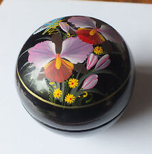 Hand Painted Black Paper Mache Trinket Box Lid with Orchids and Butterfly