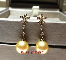 Top real 18K diamond GOLD 11-12MM SOUTH SEA round golden PEARL Dangle EARRINGS