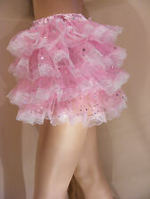 SISSY ADULT BABY FANCY DRESS PINK SEQUIN ORGANZA MICRO MINI SKIRT COPLAY TV CD