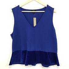 J Crew Peplum Top Size XL Blue Style H3583 Velvet NEW $55