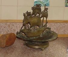 Vintage GALLEON Sailing Ship Nautical Victorian Calling Card Holder Cast Bronze