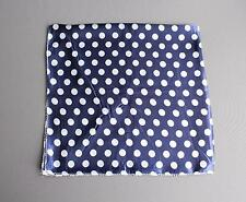 Blue White polka dot Satin silky feel square scarf wrap neckerchief tie kerchief