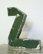 """1930s French Metal Letter Z Shop Sign Painted Green ORIGINAL Industrial 10"""" Tall"""