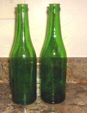 Vintage 2 Thick Glass green Beer Bottles 1924 and 1928 Bottles 12 oz