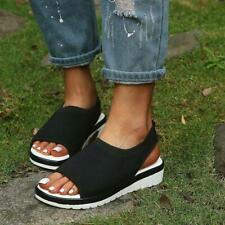 Womens Summer Slingback Flatform Sandals Peep Toe Comfy Platform Beach Shoes