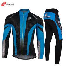 Hombres invierno ciclismo camisetas y pantalones de lana térmica manga larga ropa de Bicicleta