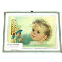 Gallagher Monuments advertising thermometer bluebird curly hair baby Malaga OH D
