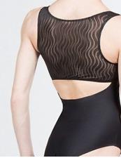 Wear Moi MADELINE Ballet Tank Leotard Black w/ mesh Women XS | NEW NWT