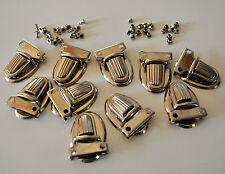 Set of 10 Purse Tongue Clasps Nickel Chrome Press Locks Thumb Catches 40 Rivets