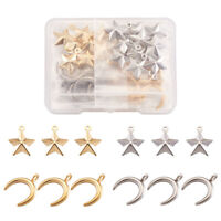 40xStar 304 Stainless Steel Pendants Crescent Moon Metal Dangle Charms 15~16.5mm