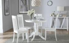 Kingston Round White Dining Room Table & 4 Oxford Chairs Set