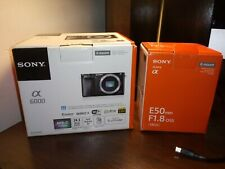 sony alpha a6000 mirrorless digital 24.3 MP camera (w E 50mm F1.8 OSS) lens