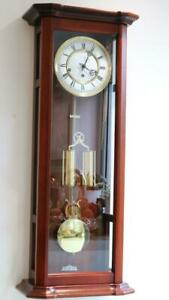 CHIMING REGULATOR WALL CLOCK twin weight driven RAPPORT Westminster 1/4 chimes