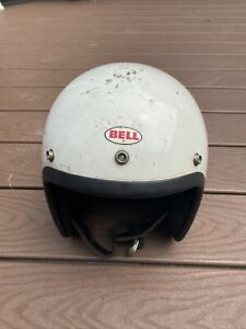 1970's Bell RT Motorcycle Auto Racing White Helmet Size 7-1/8