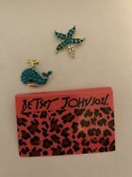 Betsey Johnson Rhinestone Blue Enamel Starfish And Whale Stud Earrings-BJ88138