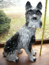 "Vintage Large 18"" Porcelain Schnauzer Terrier dog figurine Seated Usa Made H-28"