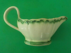 Antique Pearlware Green Feather Edge Small Gravy Boat