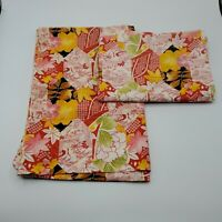 Set of 2 Vintage~ Asian/Crane Handmade Pillowcases Red Yellow Black Standard