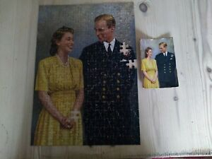 Vintage jigsaw puzzle - Queen Elizabeth II and Prince Philip engagement