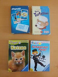 4 Kartenspiele für Kinder Katzenquartett, Schwarzer Peter, Paolo Tortellini,..