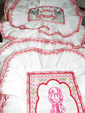 NEW - Dolls,Embroidered- Doll with umbrella motif, Bedding Set - cot/pram/bed.