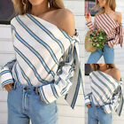 Women Cold Shoulder Tops Blouse T Shirt Tee Shirt Long Sleeve Holiday Striped