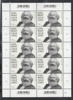 Germany 2018 - 200th birthday of Karl Marx 10 Stamps MNH / ** Sheet