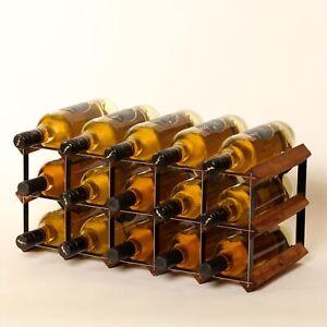Cranville wine rack storage 15 bottle Oak stain wood /black metal assembled