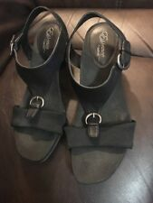 Essence by Aetrex Heeled Comfort Shoes Black Sandals Adjustable Women's Sz 8.0