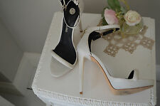 - RIVER ISLAND -  Pretty White Barely There Heels Shoes  - UK 6 39 - Fab Con -