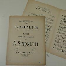 SIMONETTI op.13 canzonetta , for violin / piano