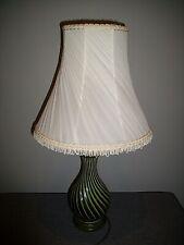 Vintage Holkham England Dark Green Table Lamp & Cream Voile Tassel Shade Light