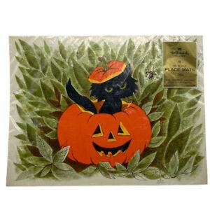 Hallmark Set Of 8 Vintage Halloween Placemats Black Cat Jack o Lantern Spider