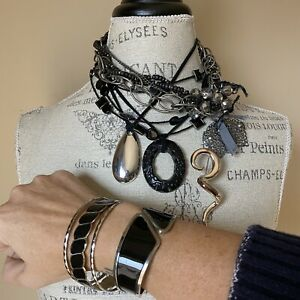 For The Love Of Black And Silver Necklace Bracelet Brooch Jewelry Lot Set