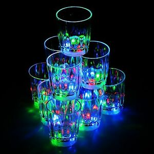 Flash Light Up Cups Shot Glasses Plastic 2 oz LED Drinking Blinking Barware -24