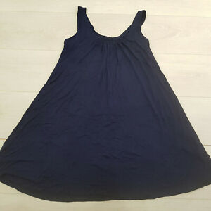 Ladies A-Line Mini Dress Size 10-12 Navy Blue Stretch Sleeveless Summer Holiday