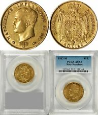 ITALY - FRANCE , GOLD 40 LIRE NAPOLEON BONAPARTE 1812 M - PCGS AU 53 , RARE