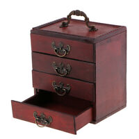 Antique 4 Layers Trinket Jewelry Storage Box Wooden Chest Treasure Organizer