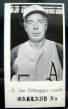 RARE 1969 Jack in the Box JOE DIMAGGIO Baseball Card # 5 Oakland A's Coach o/c