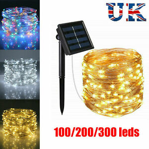 200LED Solar String Lights Waterproof 10/20M Copper Wire Fairy Outdoor Garden