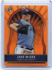 """2011 TOPPS FINEST #90 JAKE MCGEE """"ORANGE REFRACTOR"""" ROOKIE CARD RC #47/99, RAYS"""
