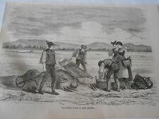 Orpailleurs du Rhin lavant le sable Antique Old Print 1861