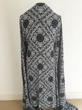 Black+Cream Decorative Tile Design Printed on Spun Viscose Dressmaking Fabric