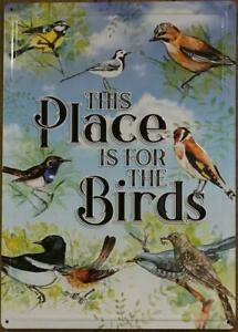 This Place Is For the Birds Metal Novelty Decorative Tin Sign Garden Home