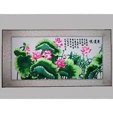 Lotusblüte, chinesisches Bild, Stickbild Blumen, Stoffbild, Stickerei Stickkunst