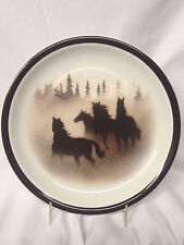 "BIG SKY CARVERS WILD HORSES SALAD PLATE 7 3/4"" BROWN HORSES & TRIM THOMAS NORBY"