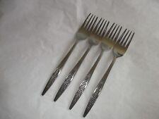 """4 National Stainless SUNFLOWER Dinner Forks, Japan, 7 3/8"""", VGUC"""